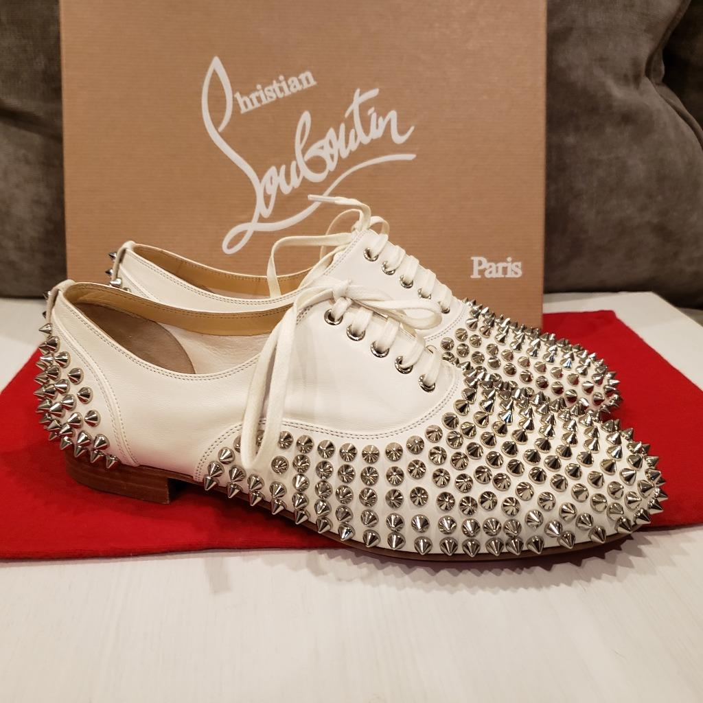32864ead49c1 Christian Louboutin FREDDY Spikes Donna Studded Lace Up Flat Oxford ...