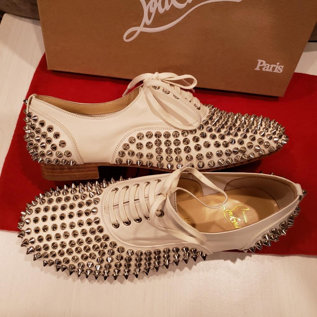 c9e7ace7fee Details about Christian Louboutin FREDDY Spikes Donna Studded Lace Up Flat  Oxford Shoes $995
