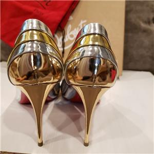 e80a2390d47c Christian Louboutin EKLECTICA 85 Striped Metallic Mirrored Heel Pumps Shoes   845