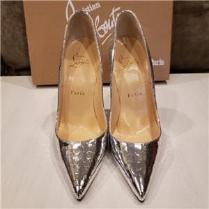 e4d5a9d44d2 Christian Louboutin SO KATE Metallic Leather Mirror Pump Heel Shoes Silver   775