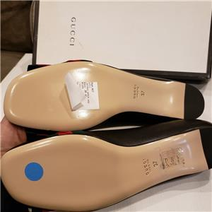 286f503c911 Gucci Aline Web Stripe Bow Star Leather Ballet Ballerina Flats Shoes Black   630