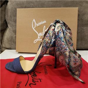 best loved af0d2 ed207 Details about Christian Louboutin SANDALE DU DESERT Denim Ankle Tie Bow  Heels Pumps Shoes $895