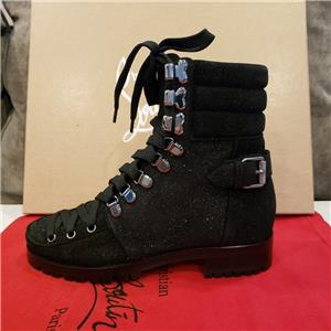 best website 61d41 0a36a Details about Christian Louboutin WHO RUNS FLAT Suede Hiking Combat Boots  Black $1595
