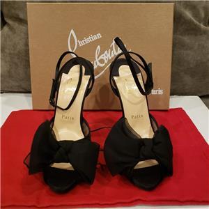 d8e00d41e4f Christian Louboutin ARTYDIVA 120 Ruched Satin Chiffon Bow Heel Sandal Shoes   995