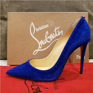 Christian Louboutin ANJALINA 100 Spiked Stud Suede Heels Pumps Shoes Blue   845 018c55c1ed9