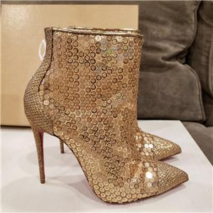 da5806c7ba85 Christian Louboutin GIPSYBOOTIE 100 Sequin Glitter Heel Ankle Boots Bootie   995