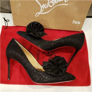 a7fed4f1d452 Christian Louboutin ANEMOSEA 85 Rosette Flower Glitter Pump Heels Shoes  795