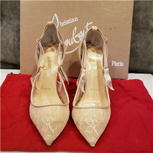 innovative design 20754 81468 Details about Christian Louboutin HOT JEANBI 100 Chantilly Lace Heels Pumps  Shoes Nude $895