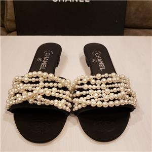 dc38db1c4ac CHANEL 17A REV Satin Pearl Embellished Mules Sandals Slides Shoes Black  850