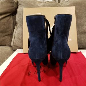 39c275dce906 Christian Louboutin CIRCUS NANA 100 Suede Lace Up Booties Heels Boots Navy   1145