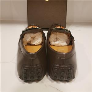2a584e0896 Gucci Brown Leather Web Stripe Bamboo Horsebit Driver Moccasin Loafer Shoes  $480