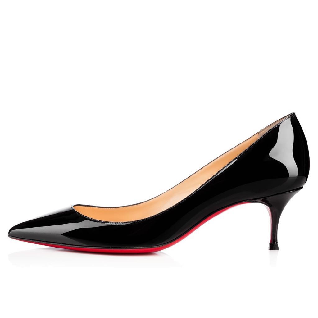 innovative design 52f52 e486f Details about Christian Louboutin PIGALLE FOLLIES 55 Patent Kitten Heel  Pumps Shoes Black $695
