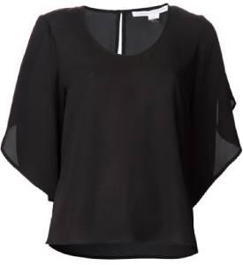 DVF Diane Von Furstenberg Nancy Black Tulip Sleeve Silk Top Blouse Black $265