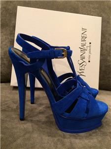 Electric Blue Suede Tribute Sandal From Yves Saint Lau Featuring An Open Toe Interwoven Front Section A Platform Leather Sole Stiletto Heel