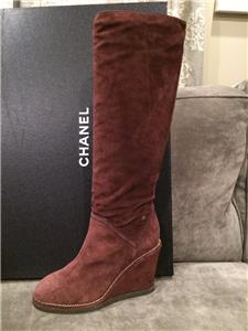 facfd98a2c4 15B 2015 Collection. Soft suede knee high boots with goldtone chain trim on  3.5