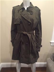 683be1ea81aa Moncler Delmas Pleated Double Breasted Trench Coat Jacket Belt Olive ...