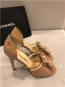826be84abb9d CHANEL 17P Patent Pearl Camellia Open Toe D Orsay Heels Pumps Sandal Shoes   850