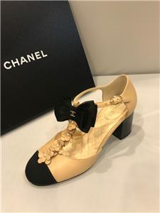 c4ceaf2d56 CHANEL 17C Pearl Camellia T Strap Cap Toe Bow Block Heel Sandals Shoes $1175