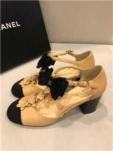 c4ceaf2d56 CHANEL 17C Pearl Camellia T Strap Cap Toe Bow Block Heel Sandals Shoes $1175