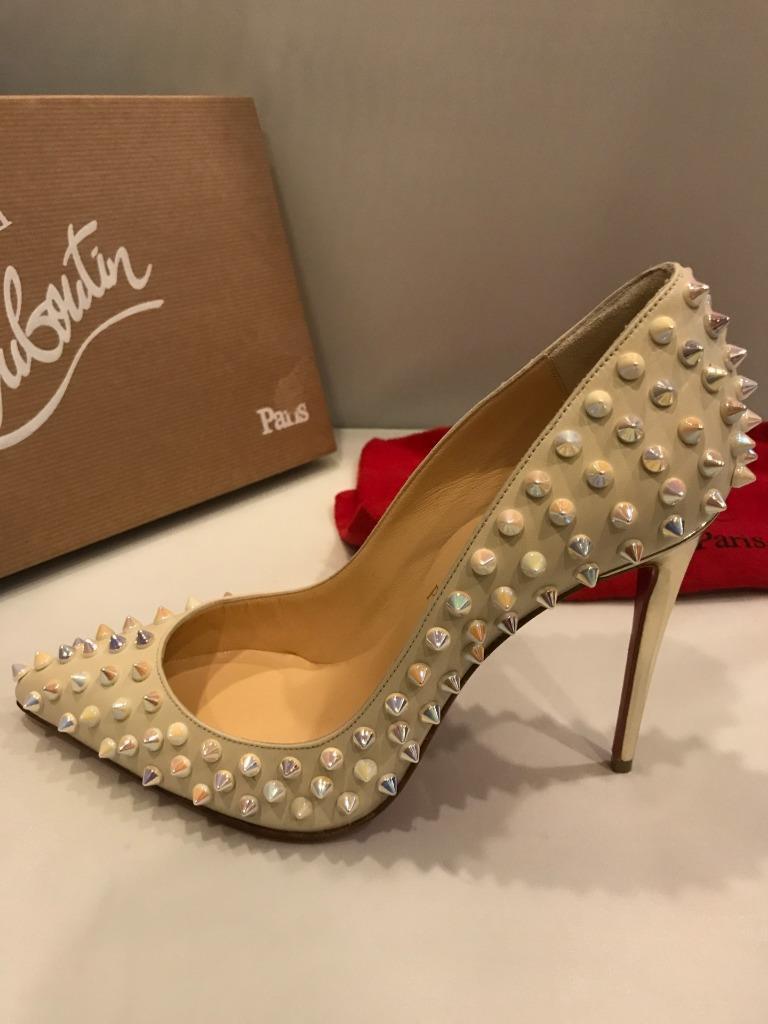 best authentic d0439 088fb Details about Christian Louboutin FOLLIES SPIKES 100 Heels Pumps Shoes  Ivory Gold $1295