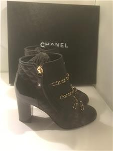 311910b3 Details about CHANEL 17B Quilted Leather Patent Heel Chain Zip Ankle Bootie  Boots Black $1550