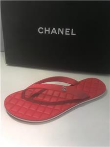 075b31c8ae6f5 CHANEL 15P Calfskin Leather Flat Flip Flop Thong Slides Sandals Shoes Red   625