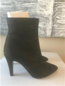 a1ed437bc CHANEL 17B Fantasy Glitter Fabric Ankle Bootie Boots Heels Shoes Black $1150