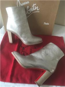 7760c7023776 Christian Louboutin ADOX 85 Metallic Leather Ankle Boot Bootie Heel Silver   945