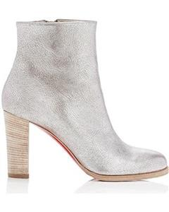 d9d5e71d9619 Christian Louboutin ADOX 85 Metallic Leather Ankle Boot Bootie Heel Silver   945