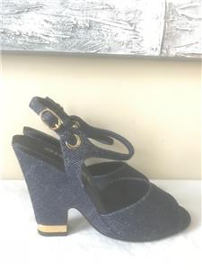 20b5f10ab CHANEL 17A Denim Open Toe Ankle Strap Wedge Heel Shoes Sandals Navy Blue  $850