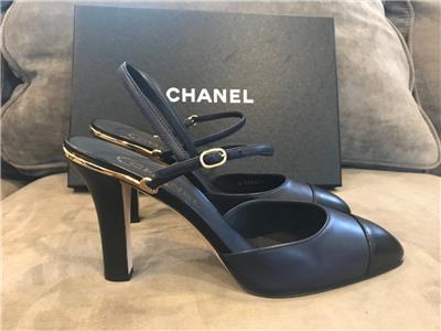 5e99b6b853f3 CHANEL 17C Coco Leather Slingback Sandals Heels Shoes Navy Blue Black  950