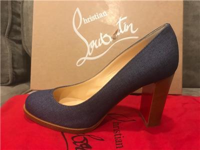 cd6e90e3b589 Christian Louboutin LONDON BUCHE 85 Denim Blue Block Heel Pumps Shoes  695