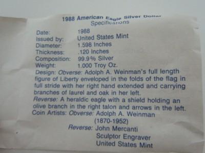 American Eagle Silver Dollar 1988 American Eagle Silver