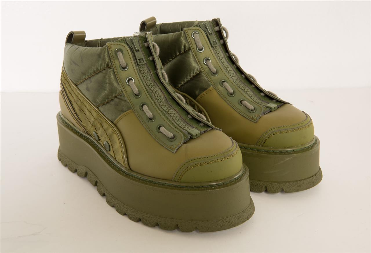 Details about FENTY PUMA Womens Cypress Army Green LaceZip Rubber Platform Sneaker Boots 10