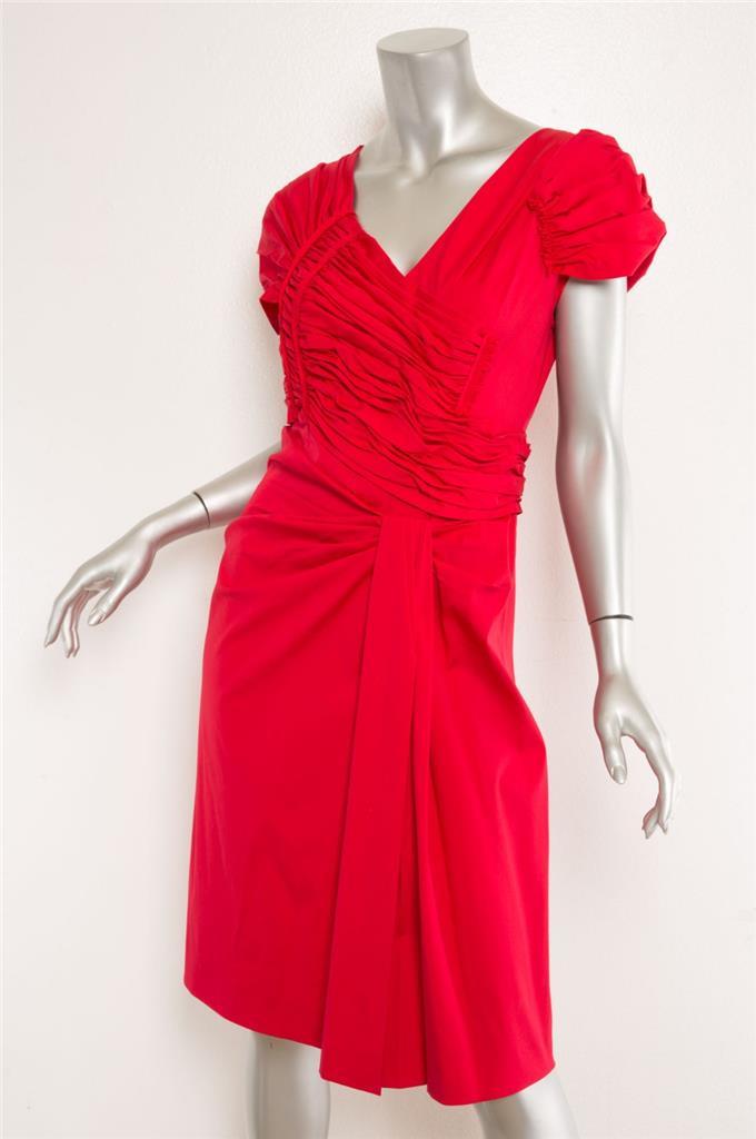 6 Rot Gerüscht V Details Kleid 42 Flügelärmel Damen Stretch Prada Ausschnitt Zu Plissiert XuikZOP