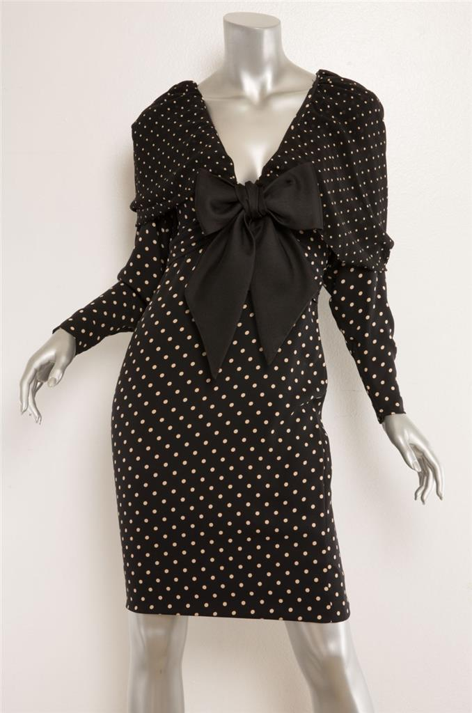 7a0c07ac6aa2 Details about GALANOS Womens Black + Beige Polka-Dot Bow Batwing Long  Sleeve Shawl Dress M