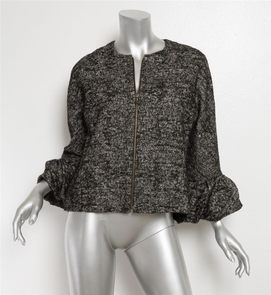 Wolle Zip Ärmel Ohne Strukturiert Schwarz Zu Up Schößchen Details Kragen Damen Lanvin Jacke OkNnwX80P