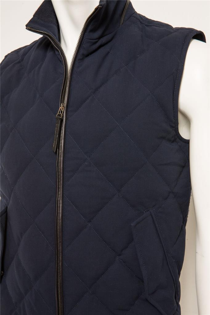 eb71620c Details about ERMENEGILDO ZEGNA ELEMENTS TROFEO Mens Navy Quilted  Sleeveless Vest Jacket 46 R