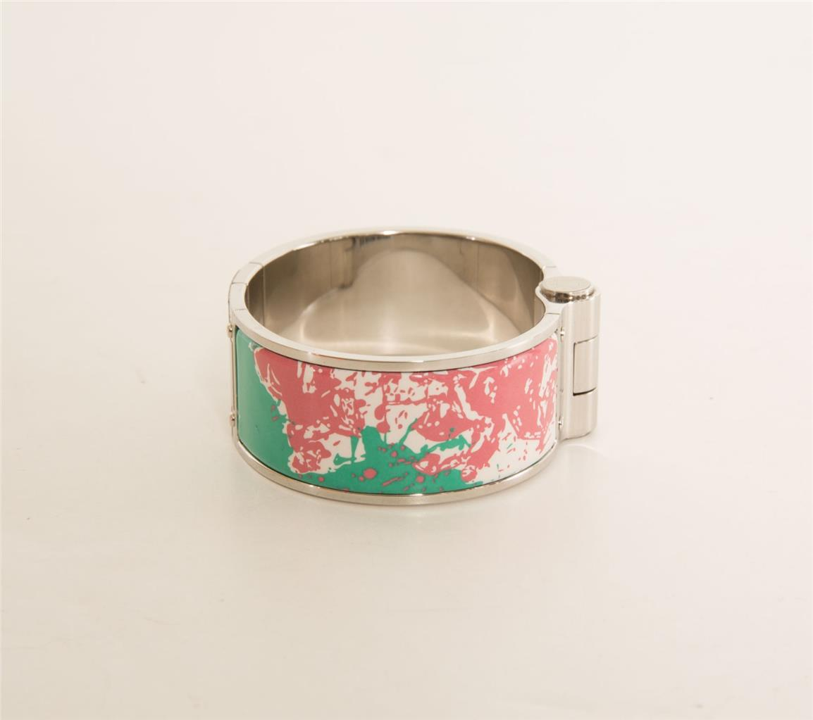 3a4857bcd589 Details about HERMÈS Cheval Surprise Hinged Bracelet Palladium Wide Enamel  Cuff NEW IN BOX