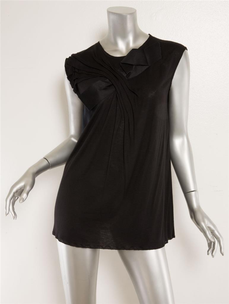 4c9eef9212 LANVIN Black Pleated Twist Front Satin Ribbon Sleeveless Top Blouse 6-38  NEW 1 of 3Only 1 available ...