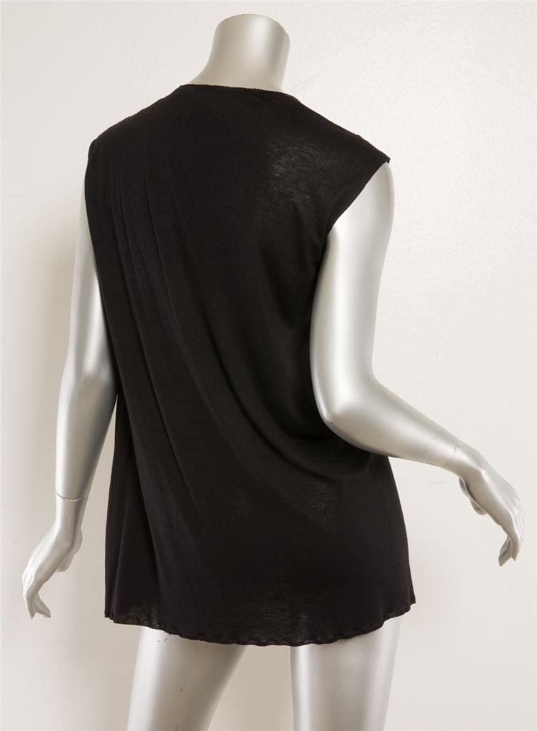 cf1562ff8a LANVIN Black Pleated Twist Front Satin Ribbon Sleeveless Top Blouse 6-38  NEW 2 2 of 3 ...
