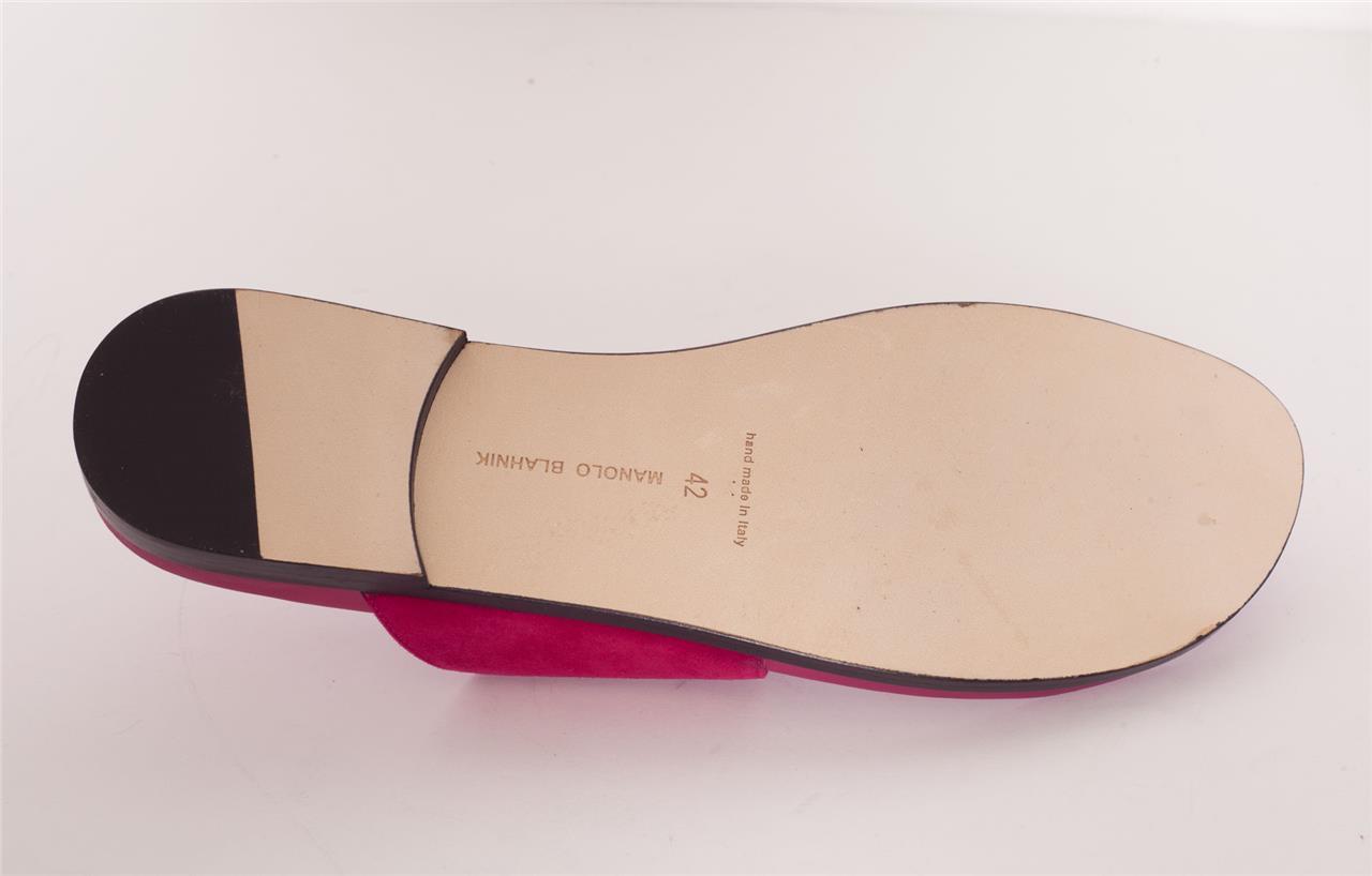 MANOLO BLAHNIK Raspberry Pink STURONE Suede gold Buckle Buckle Buckle Flat Sandals 12-42 NEW 3c4a82