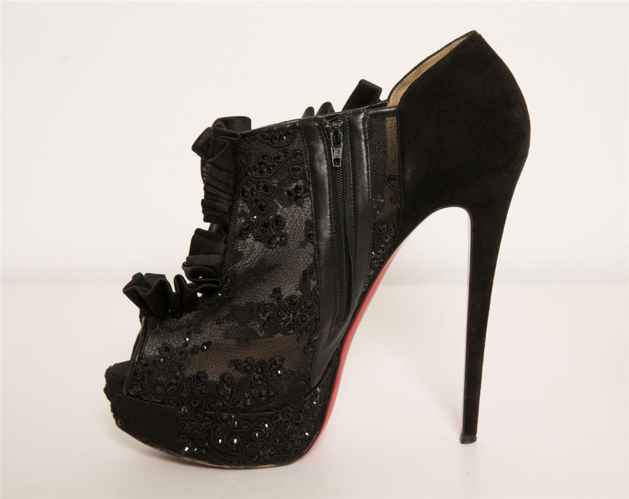 deeb28c3daf Details about CHRISTIAN LOUBOUTIN Margot Black Mesh Peep-Toe Floral Crystal  Bootie Pumps 39.5