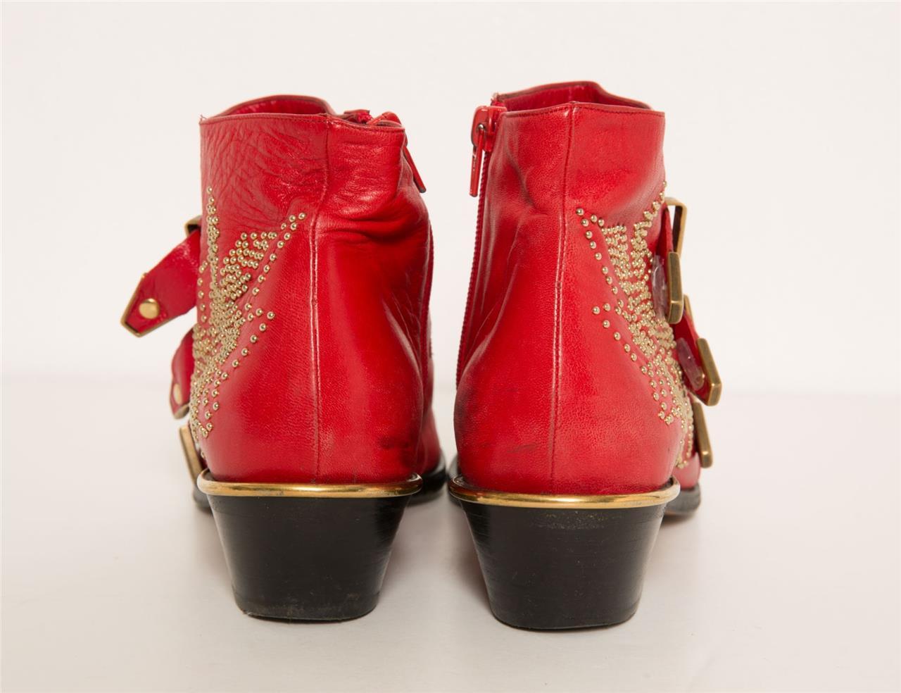 Chloe Femmes Cuir Rouge Susanna or Studed Bout Pointu Bottines 7.5 ... d4a70860c2e
