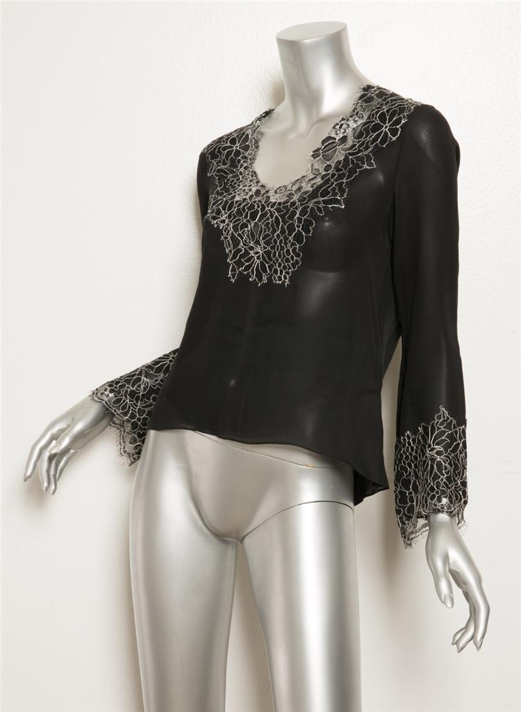 d16ed307038596 OSCAR DE LA RENTA PINK LABEL Black Silk White Floral Lace Trim Blouse Top 8