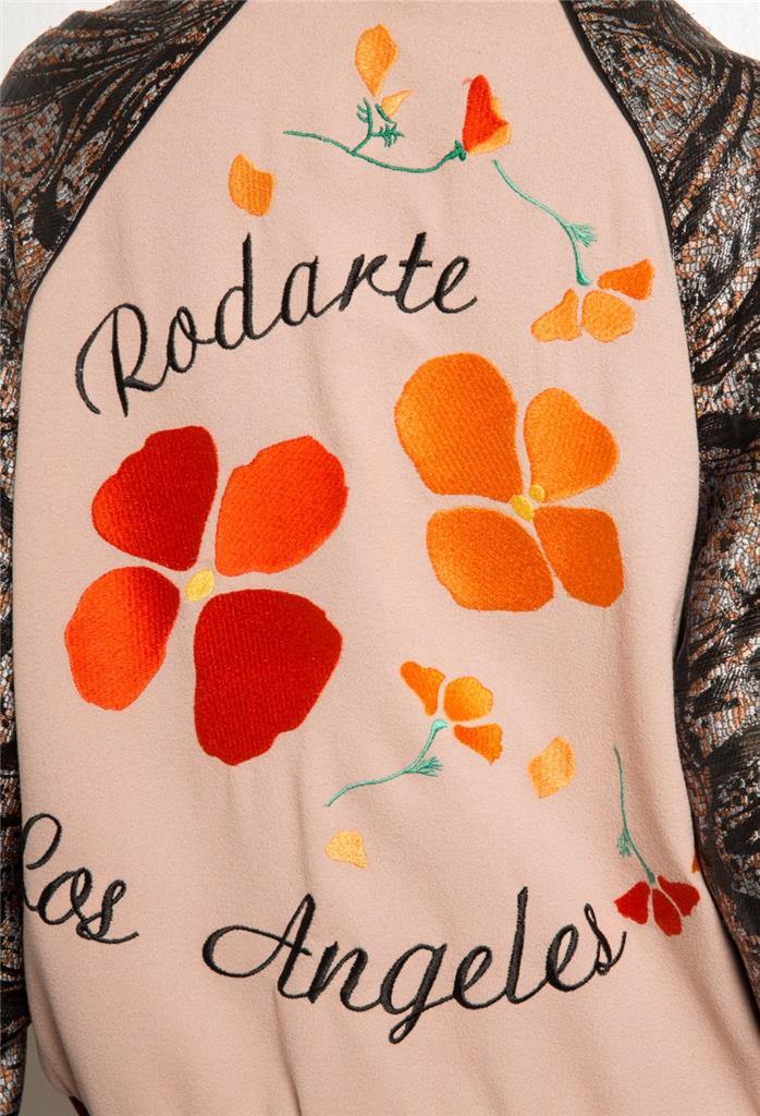 RODARTE Womens LIMITED EDITION Embroidered Varsity Bomber Jacket XS/S