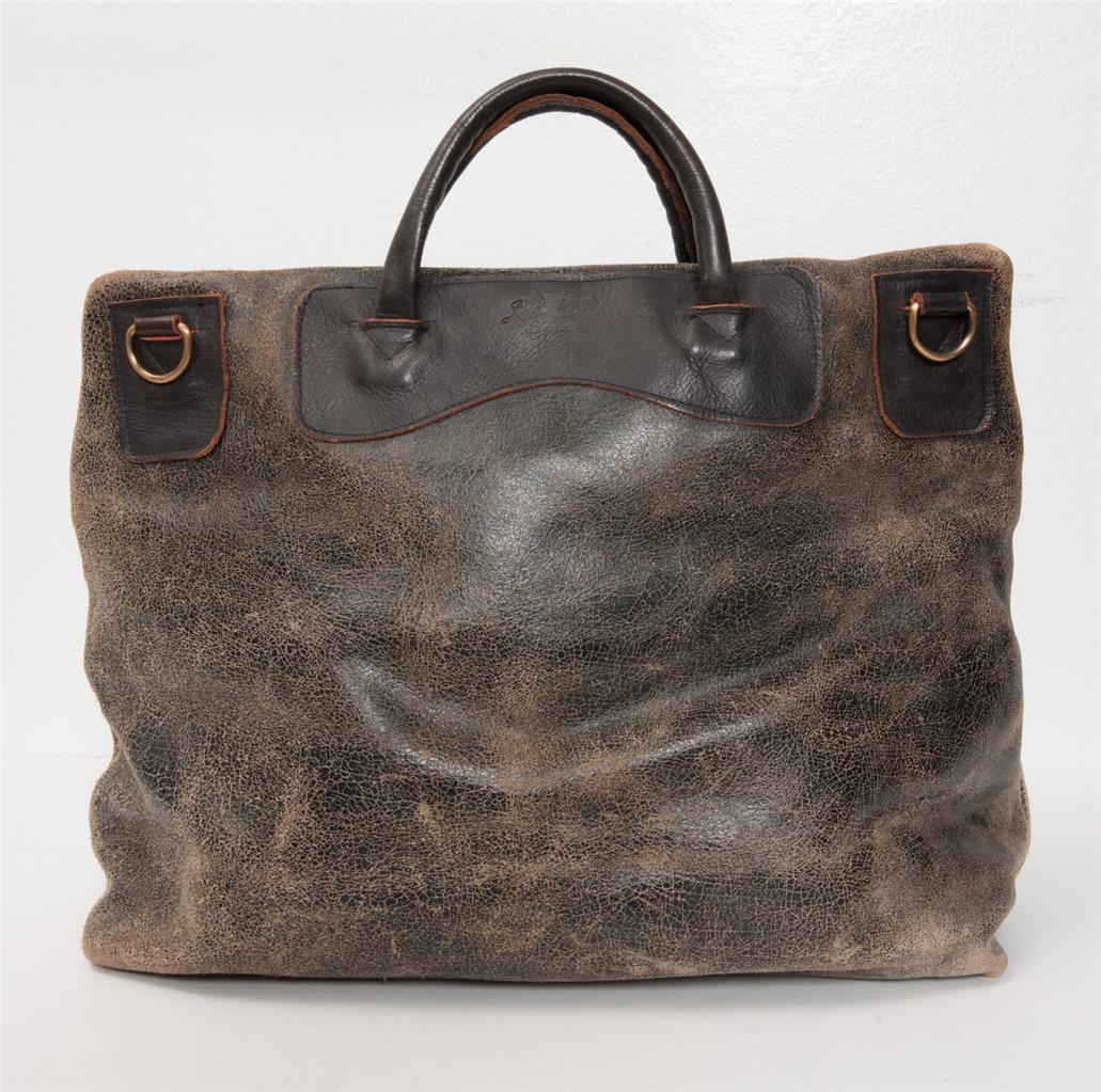 78181f9c54 Details about JAS M.B. Distressed Crackle Brown Black Leather Removable  Messenger Strap Bag