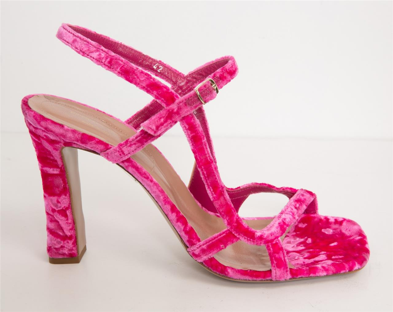 f0ef4b2ebfb Details about DRIES VAN NOTEN Fuchsia Pink Crushed Velvet Strappy Square  Toe Sandal 12-42