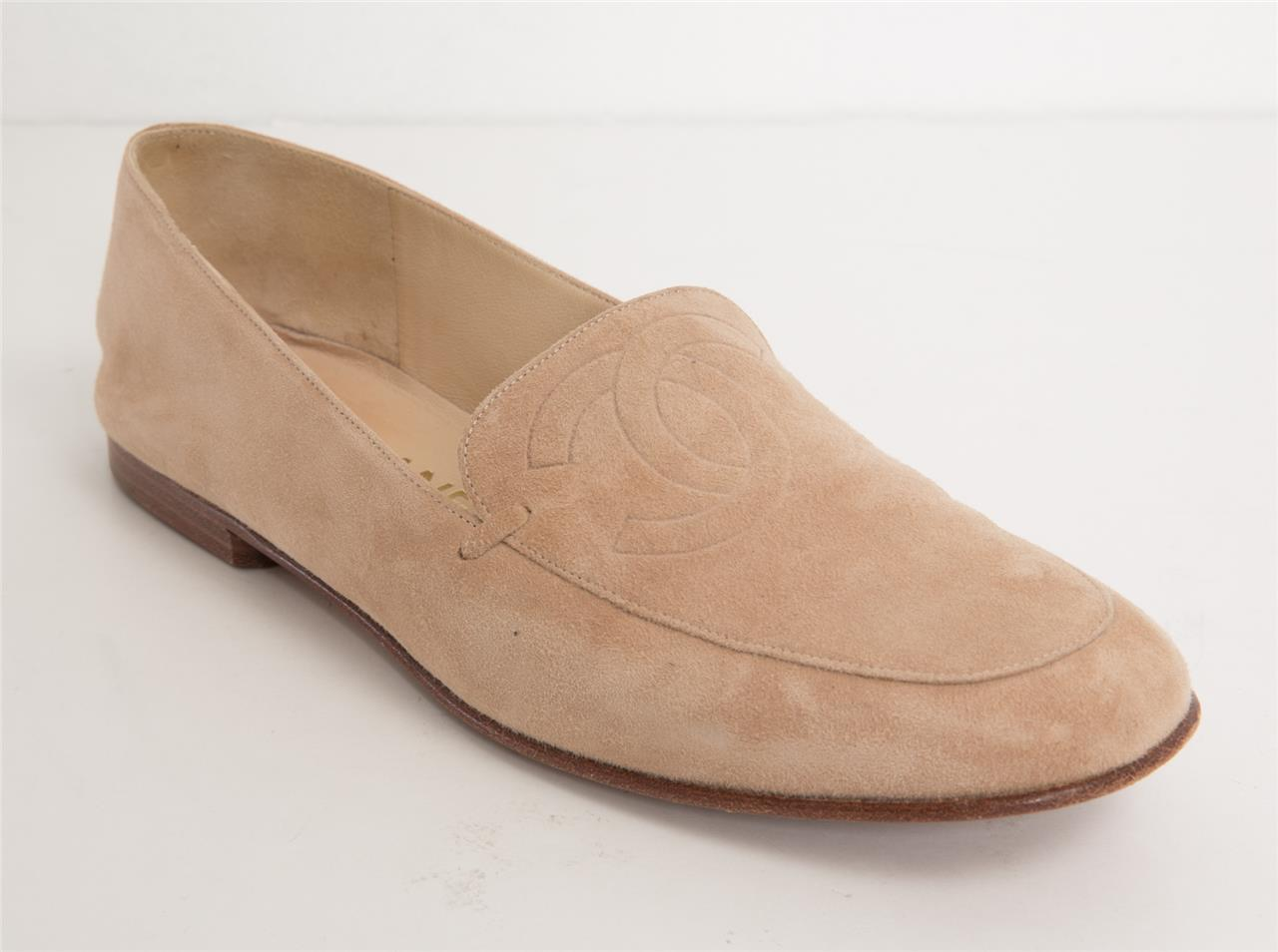 mejores zapatillas de deporte d447d f556d Detalles de Chanel Mujer ante Canela cc Logo Mocasines Beis Color Carne  Zapatos Planos 7-37