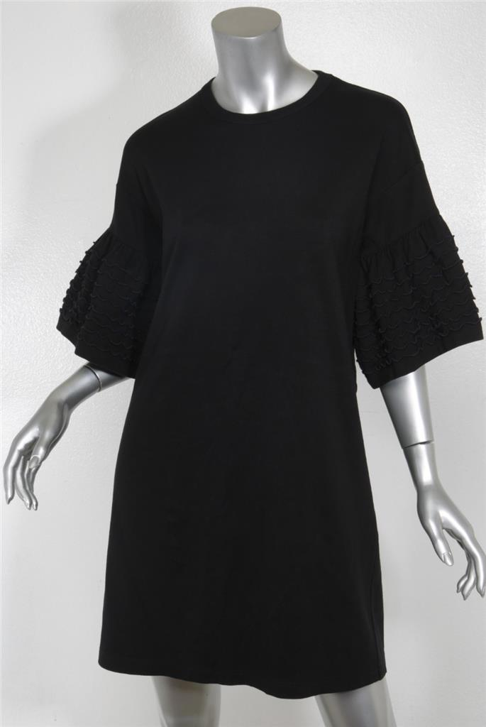 Details about SEE BY CHLOE Womens Black Cotton Lettuce Ruffle Short Sleeve  Shift Dress S NEW f124e0d7c